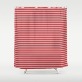 Red and Gray Vintage Thin Stripes Shower Curtain