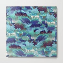 Aqua Blue TieDye Camo Metal Print