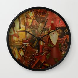 Santa Claus with candles on Christmas Collage Wall Clock