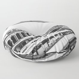Union Station // Train Travel Downtown Denver Colorado Black and White City Photography Floor Pillow