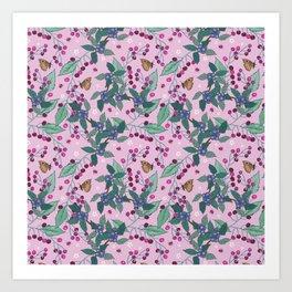 Cherries and Sloes pattern Art Print