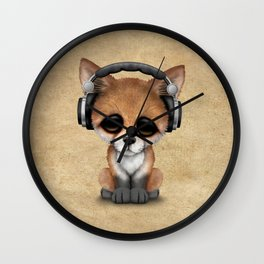 Cute Red Fox Cub Dj Wearing Headphones Wall Clock