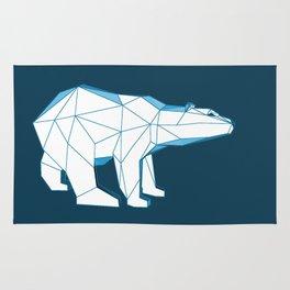 Blue geo polar bear looking for love.. Rug