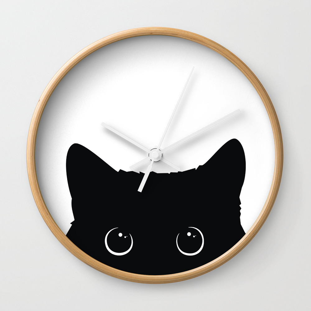 Black Cat Wall Clock by Art7decor