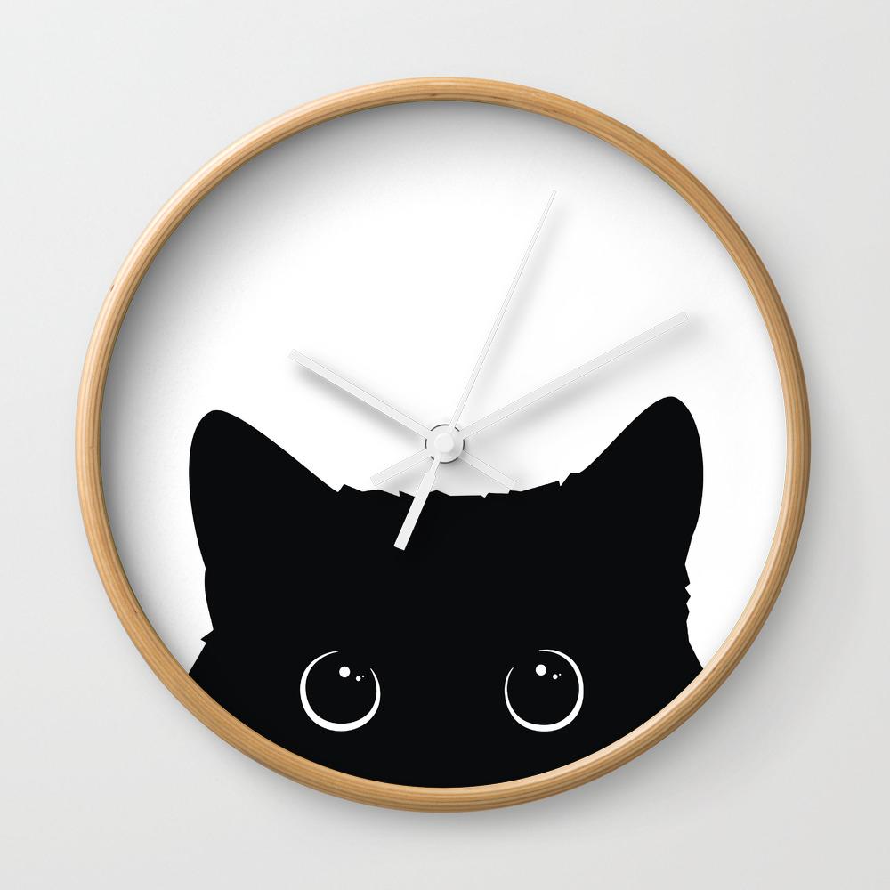 Black Cat Wall Clock by Art7decor