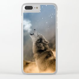 Wolfs under the mountain's sky Clear iPhone Case