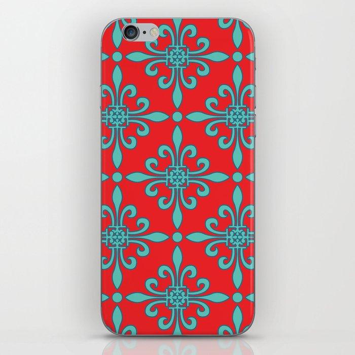 Fleur de Lis - Red & Turquoise iPhone Skin