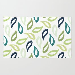 Blue And Green Leaf Pattern Large Rug