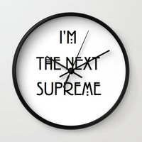 supreme Wall Clocks featuring Supreme by Lyre Aloise