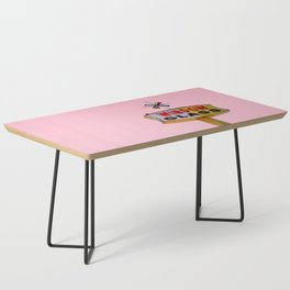 Atomic Pink Starburst - Vintage Googie-Style Sign with Pink Background Coffee Table