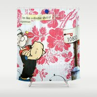 popeye Shower Curtains featuring Double Shot by Natasha N. Walker