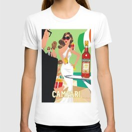 1970 Campari Vintage Cordial Italian Riviera Amalfi Coast Aperitif Advertisement Poster T-shirt