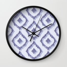 Ikat Blues I Wall Clock