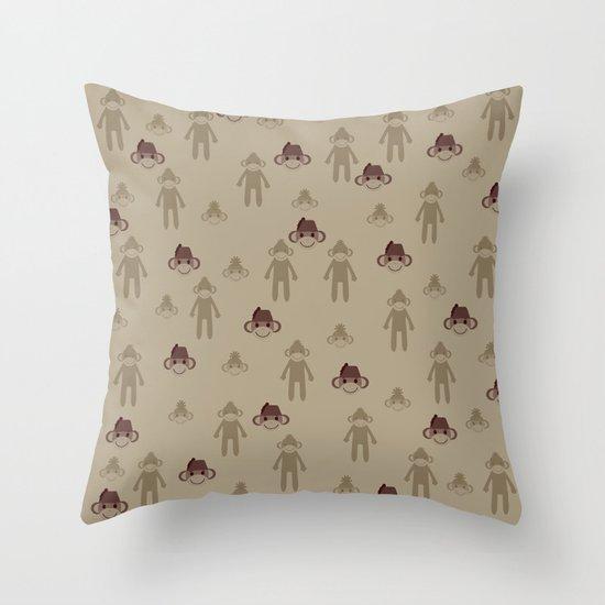 Little Sock Monkeys Throw Pillow