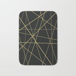 Golden lines on black Bath Mat