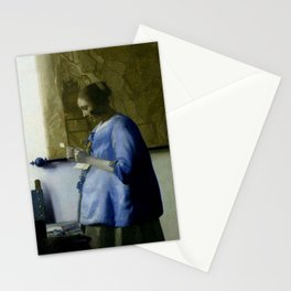 Vermeer, woman reading a letter,Mujer leyendo una carta,Brieflezende vrouw, Stationery Cards