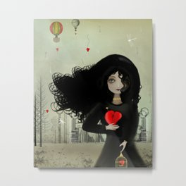 Dark Steampunk Valentine I Heart You Metal Print