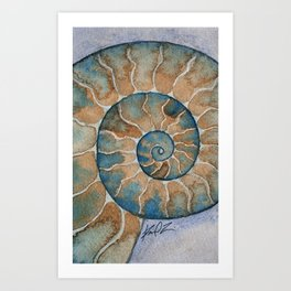 Ammonite fossil watercolor painting Art Print