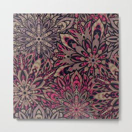 Beautiful old brown pink colorful mandala Tribal ornament pattern Metal Print