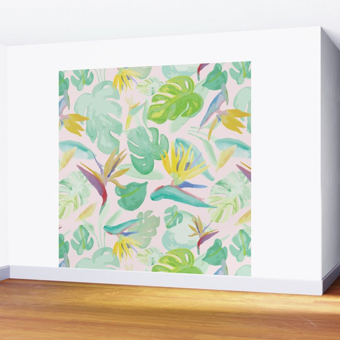 Birds of Paradise Pattern Wall Mural