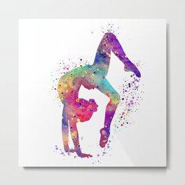 Gymnastics Tumbling Watercolor Metal Print