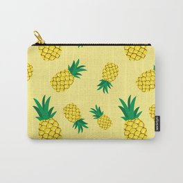 Lovely pineapple illustration pattern, yellow background illustration Carry-All Pouch