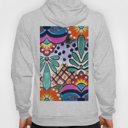 Colorful Talavera, Pink Accent, Large, Mexican Tile Design Hoody