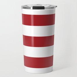 Rambutan Red - solid color - white stripes pattern Travel Mug