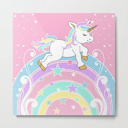 Starry Rainbow Unicorn Metal Print