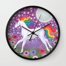 wanderlust (rainbow unicorn), moon and stars, anemone Wall Clock