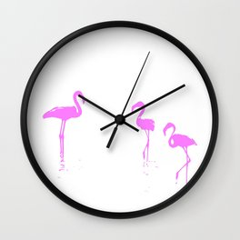We Are The Three Flamingos Silhouette In Pink Wall Clock