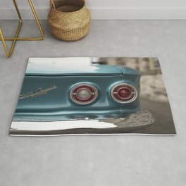 Vintage Chevy Turquoise Blue & Red Rug