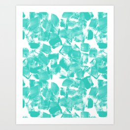 Brushy aqua bright happy brushstrokes painting abstract minimal modern dorm college decor art Art Print