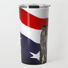 Red White and Brass the American Flag and a 20mm brass Casing reflections Travel Mug