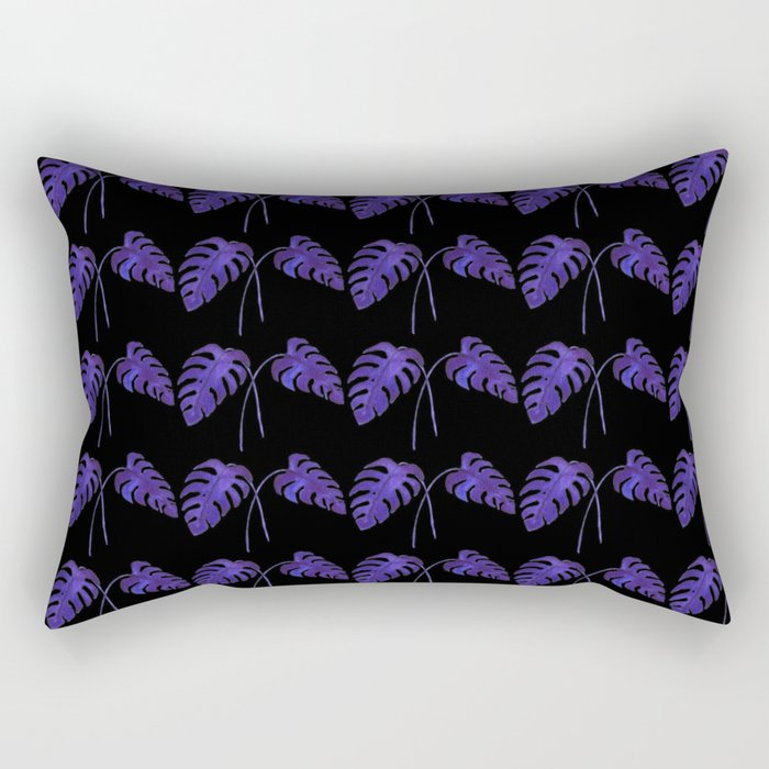 Indigo Monstera Leaf Watercolor on Black Rectangular Pillow