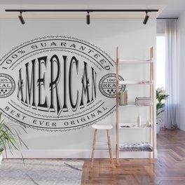 100% American (black badge on white) Wall Mural