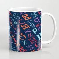 alphabet Mugs featuring Alphabet  by cactus studio