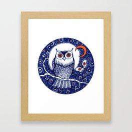 Little owl with moon kids room owl illustration Framed Art Print