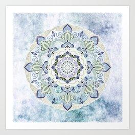 BLUE YERA MANDALA Art Print