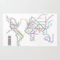 subway Area & Throw Rugs featuring World Metro Subway Map by artPause