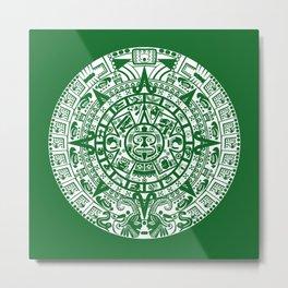 Mayan Calendar // Forest Green Metal Print