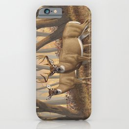 Whitetail Deer Trophy Buck and Doe in Autumn iPhone Case