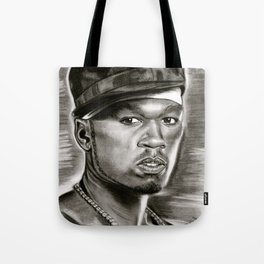 50 Cent in Black and White Tote Bag