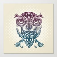 egyptian Canvas Prints featuring Baby Egyptian Owl by Rachel Caldwell