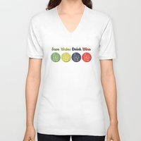 wine V-neck T-shirts featuring wine by flydesign