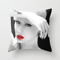iggy azalea Throw Pillows featuring Iggy Azalea Bahaus by infinitelydan