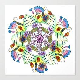 Foxgloves and Thistles Mandala Canvas Print