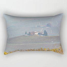 Scenic view of the freshly harvested grape fields in autumn in Barolo valley Rectangular Pillow