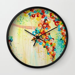 SUMMER IN BLOOM - Beautiful Abstract Acrylic Painting Vibrant Rainbow Floral Nature Theme  Wall Clock