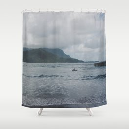 Two Surfers in a Sea - Kauai, Hawaii Shower Curtain